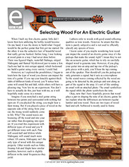Selecting Wood For An Electric Guitar.